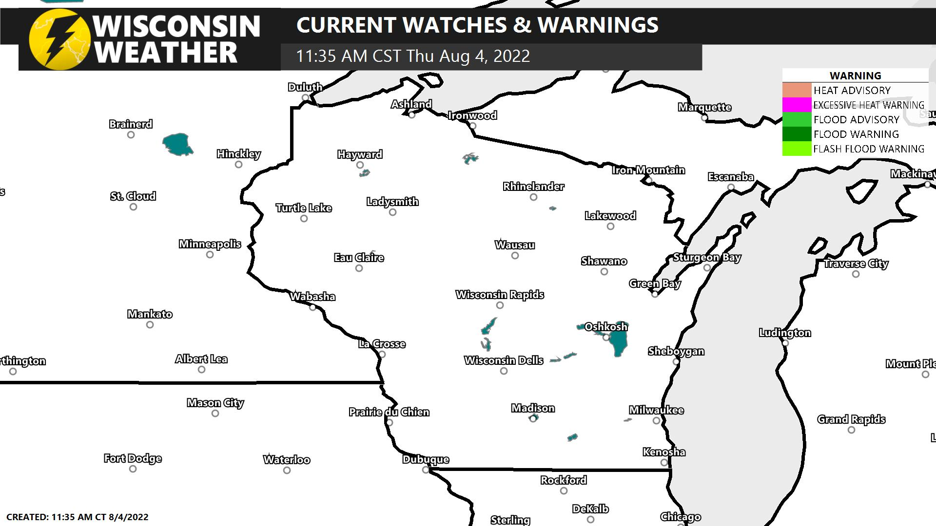 Current Warnings, Watches, and Advisories
